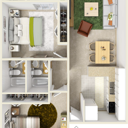 Seminole 2 bedrooms and 2 bathrooms floor plan with premium wood style flooring in common area