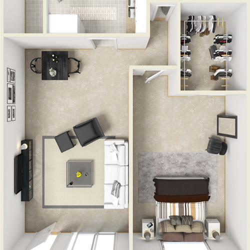 Bel-Air 1 bedroom 1 bathroom floor plan with premium finishes