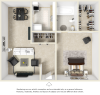 Village West 1 bedroom and 1 bathroom floor plan with premium finishes