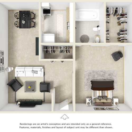 Village West 1 bedroom and 1 bathroom floor plan with premium cabinetry