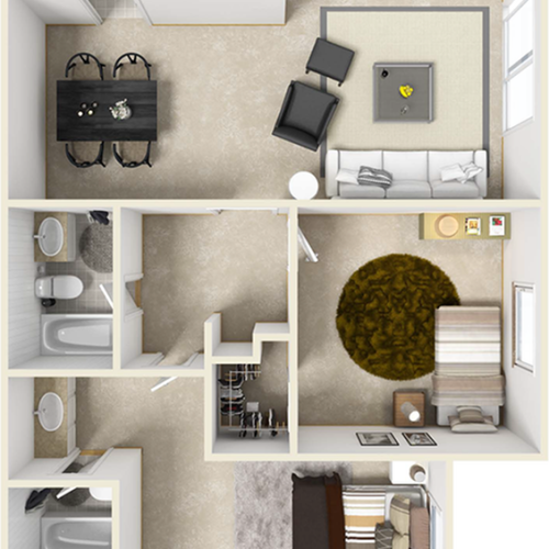 Bel-Air 2 bedroom and 2 bathroom floor plan