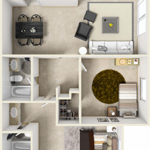 Bel-Air 2 bedroom and 2 bathroom floor plan with premium finishes