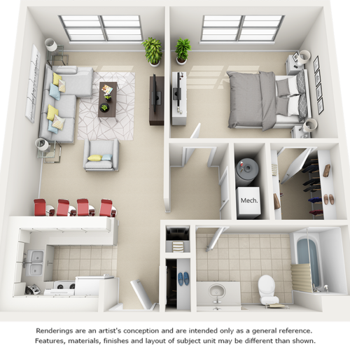 Holly 1 Bedroom and 1 Bathroom Floor Plan with enhanced finishes