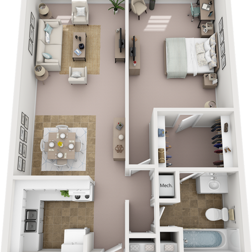 Azalea 1 Bedroom and 1 Bathroom Floor Plan with premium finishes and new cabinetry