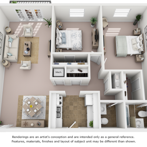 Crepe Myrtle floor plan with 2 bedrooms, 1 bathroom, premium finishes and new cabinetry