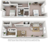 Oak floor plan with 2 bedrooms, 1.5 bathrooms and enhanced finishes