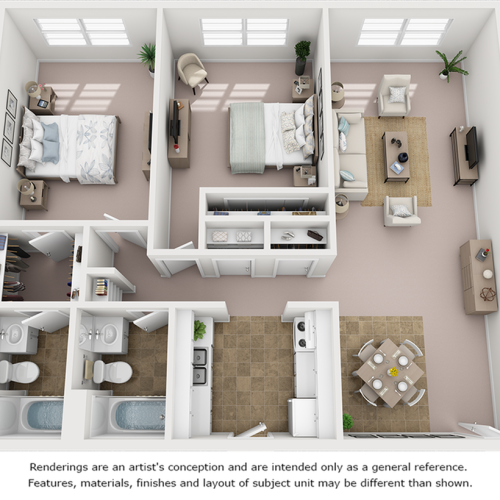 Palm floor plan with 2 bedrooms and 2 bathrooms