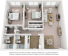 Palm floor plan with 2 bedrooms, 2 bathrooms, premium finishes and new cabinetry