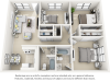 Maple floor plan with 3 bedrooms and 2 bathrooms