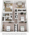 Sago floor plan with 3 bedrooms and 2 bathrooms