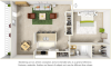 Songbird 1 bedroom 1 bathroom floor plan