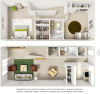 Egret floor plan with 2 bedrooms, 1.5 bathrooms and wood style flooring