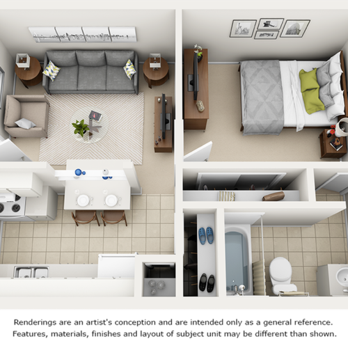 Oasis 1 bedroom 1 bathroom floor plan with enhanced finishes