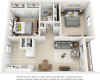 Grotto 2 bedrooms 1 bathroom floor plan