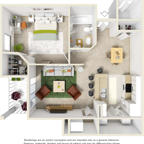 Scarlet 1 bedroom 1 bathroom floor plan with tile flooring