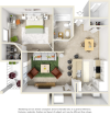 Scarlet 1 bedroom 1 bathroom floor plan with premium finishes