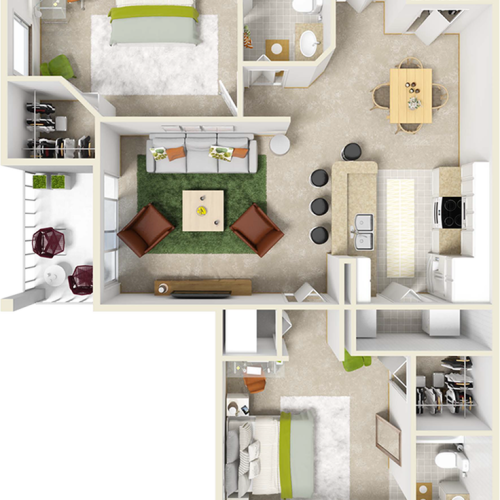 Laurel 2 bedrooms 2 bathrooms floor plan with tile floors