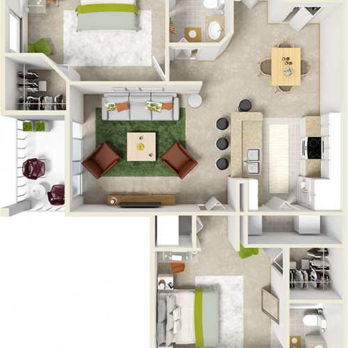 Laurel 2 bedrooms 2 bathrooms floor plan with tile and wood style floors
