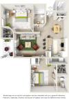 Laurel 2 bedrooms 2 bathrooms floor plan with quartz