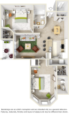 Cherry 2 bedrooms 2 bathrooms floor plan with tile floors