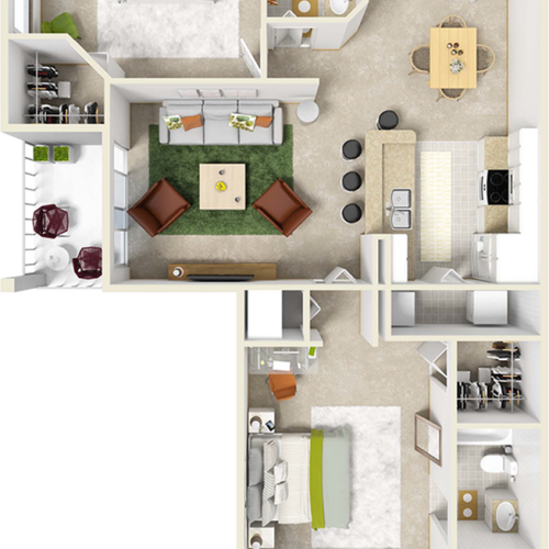 Cherry 2 bedrooms 2 bathrooms floor plan with quartz