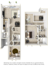 Westin floor plan with 2 bedrooms and 2 bathrooms