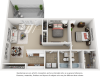 Tranquility 2 bedrooms 2 bathrooms floor plan with premium finishes