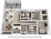 Harmony 3 bedrooms 2 bathrooms floor plan with premium finishes