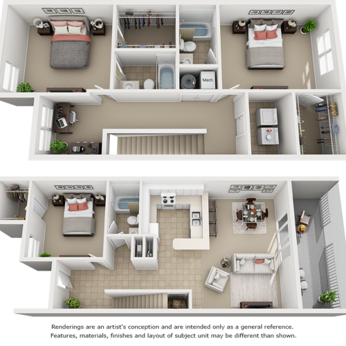 Oasis 3 bedrooms 3 bathrooms floor plan