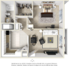 The Sago 1 bedroom 1 bathroom floor plan.