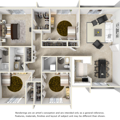 The Palm 4 bedrooms 2.5 bathrooms floor plan with premium finishes and wood style floors
