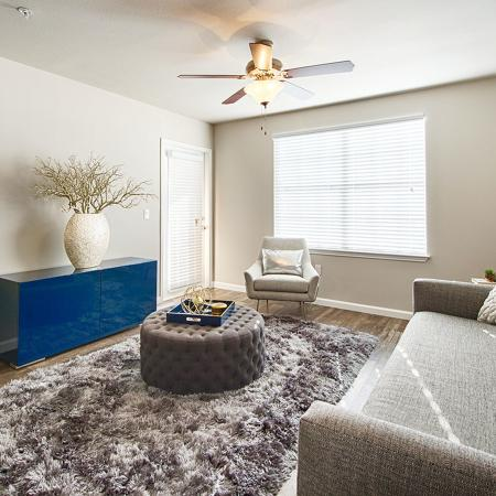 Living area with with fabric covered covered couch, shag area carpet, round ottoman as a coffee table, and short entertainment center and front door on opposite wall.