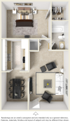 The Madrid 1 bedroom 1 bathroom floor plan with premium finishes