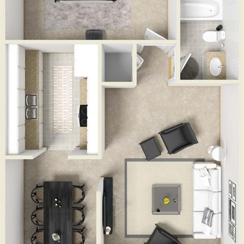 The Madrid 1 bedroom 1 bathroom floor plan with premium finishes