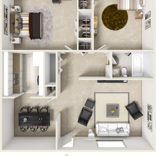 The Barcelona 2 bedrooms 1 bathroom floor plan
