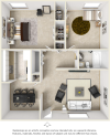 The Valencia 2 bedrooms 1 bathroom floor plan with premium finishes