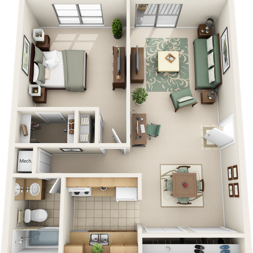 Day Lily 1 bedroom 1 bathroom floor plan with premium cabinetry