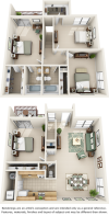 Sunflower 4 bedrooms 2.5 bathrooms floor plan