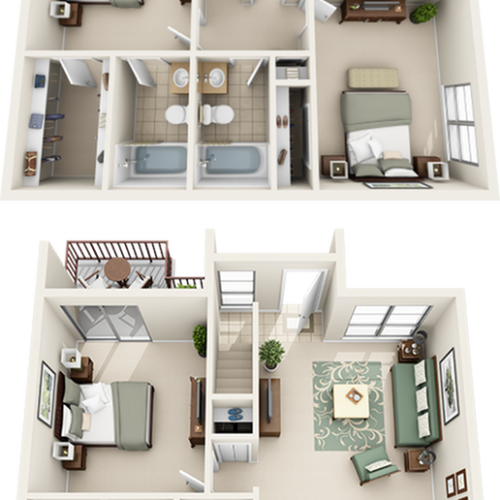Sunflower 4 bedrooms 2.5 bathrooms floor plan with premium cabinetry