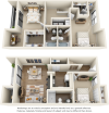 Cypress 3 bedrooms 3 bathrooms floor plan with double balcony