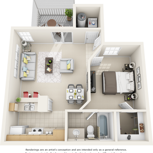 Sago 1 bedroom 1 bathroom floor plan with quartz counter tops