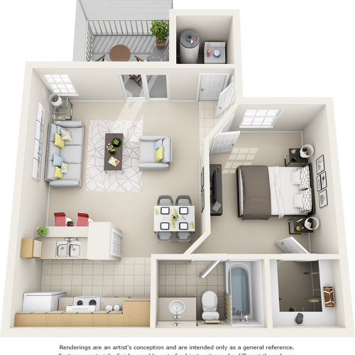 Vaulted Sago 1 bedroom 1 bathroom floor plan with quartz counter tops