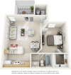 Vaulted Sago 1 bedroom 1 bathroom floor plan with premium finishes