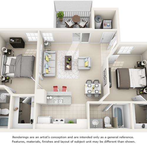 Vaulted Boxwood 2 bedroom 2 bathrooms floor plan
