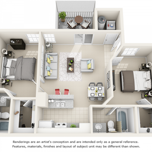 Hibiscus  2 bedrooms 2 bathrooms floor plan with premium finishes