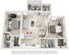Vaulted Hibiscus  2 bedrooms 2 bathrooms floor plan