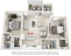 Vaulted Hibiscus Hibiscus  2 bedrooms 2 bathrooms floor plan