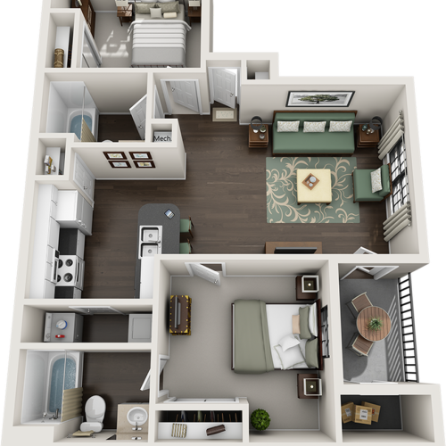 Bradford 2 bedrooms and 2 bathrooms floor plan