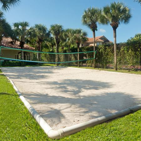 Community beach volleyball pit with lush green grass and palm trees.