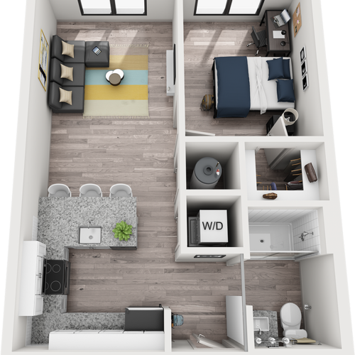 Duke 1 bedroom 1 bathroom floor plan